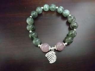 綠髮晶+粉晶設計款手鍊