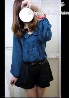 🚚 日本品牌heather 日貨 藍綠色雪紡氣質襯衫