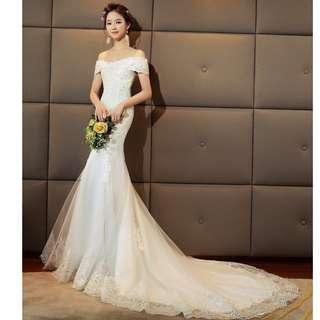 Wedding Collection - Wide Off Shoulder Design Slim Fit Mermaid Wedding Gown