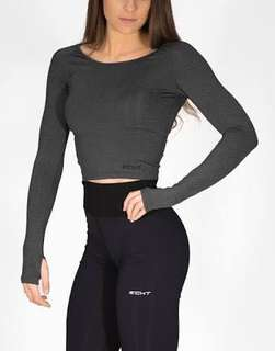 Echt Long Sleeve Crop in Pirate Black BRAND NEW WITH TAGS!
