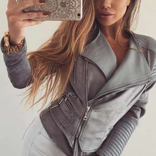 Bessy Biker Jacket - Ivory and Chain (grey) - SIZE 12