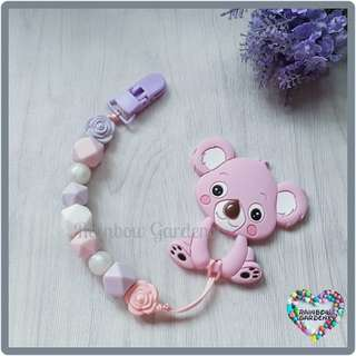 Handmade Silicone beads Pacifier Clip + Pink Koala teether combo