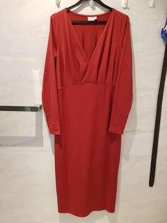 ASOS Maternity Long Sleeved Vermillion Dress