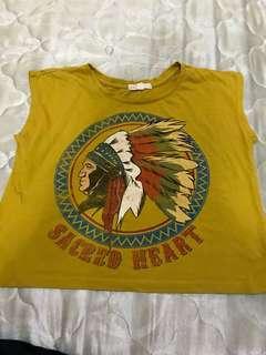 Forever 21 shirt crop top in yellow (original)