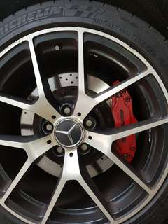"18"" replica AMG rims with tyres,245/40/18"", p.cd 5X112, 8.5J offset45,condition 8/10.very slight rim rash only"""