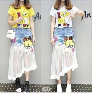 Gauze embroidery splice skirt denim sequins T-shirt a set