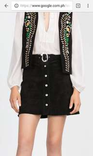 H&M suade button down skirt