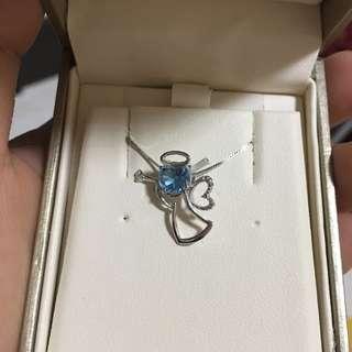 Darling Blue Crystal Angel Necklace