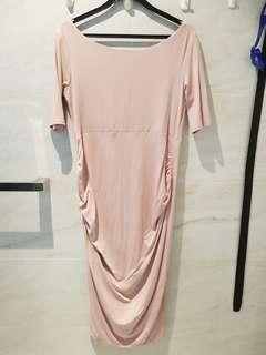 ASOS Maternity 3/4 Sleeved Dusty Pink Bardot Dress