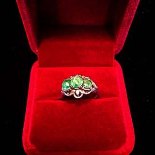 Beautiful 1900's (Mid) Old Straits Settlements Malaya Vintage Old-Peranakan Pure Silver Ring Crowned with 3 Jade Stones. (Rare)