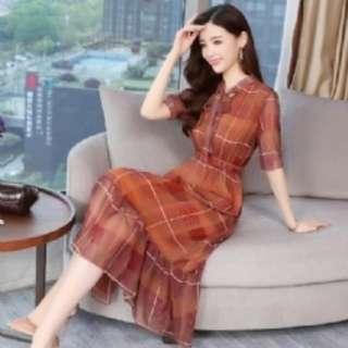 預購 SN9663韓版蝴蝶結系帶格子雪紡連衣裙