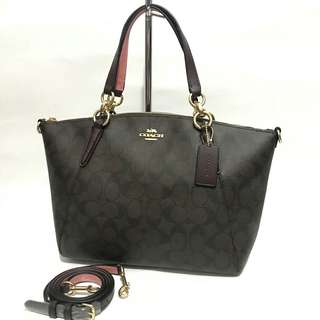 Coach Small Kelsey Signature Brown Oxblood