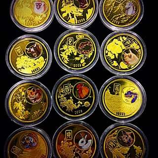 2009 North Korean 20 Won Complete Almanac Chinese Zodiac Golden-Gilt Set of 12-Coins. Excellent Mint Condition!