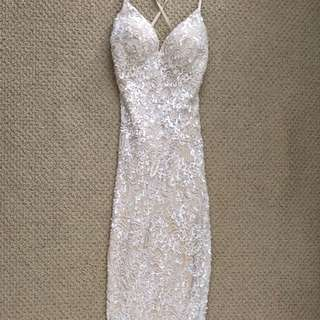 Madeline Boutique Sequin White/Cream Prom Dress