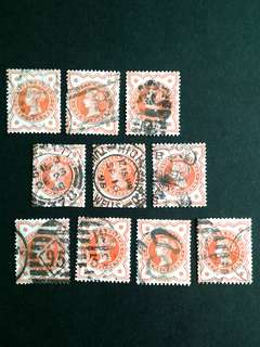 GB-Victoria one half-penny stamps