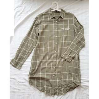 Brand New Ladies' Checked Long Blouse by H:Connection (Purchased from Korea)