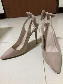 Nude ribbon heels
