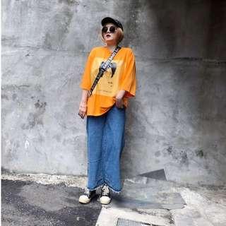 『闆娘清單趴兔~特殊版型中腰時髦復古挖空設計大喇叭直筒牛仔褲』