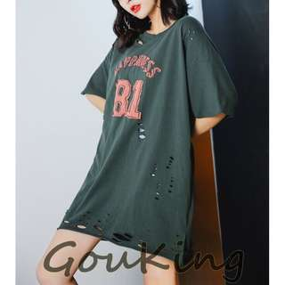 🚚 Gou king*春夏韓系女裝81數字圖割破寬鬆長版T恤 M-L 2色