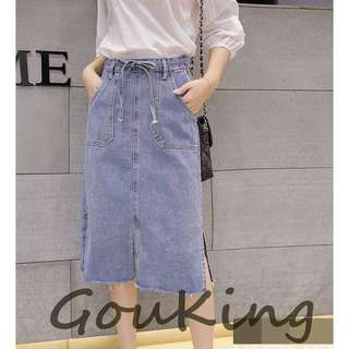 🚚 Gou king*春夏韓系女裝顯瘦側開衩高腰毛邊牛仔長裙 XS-2XL 2色