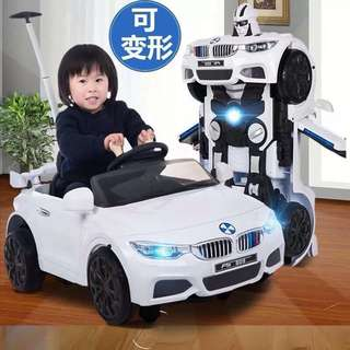 White Robot Car Rechargeable Toy Car Transformer Car