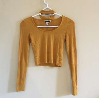 Mustard chocker crop top