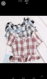 Inc pos checkered square collar blouse