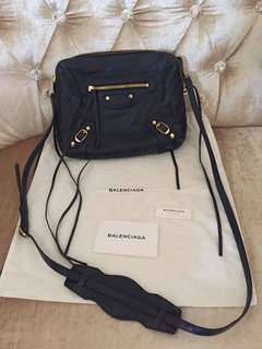 Balenciaga Navy Blue Reporter Bag