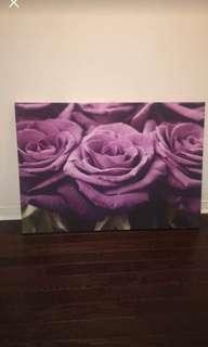 Purple roses wall art