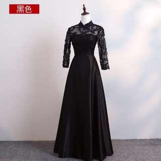 Black Lace Mandarin Collar Bridal Gown