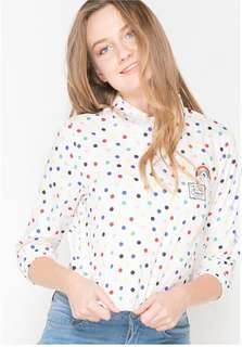 Dots back opening blouse
