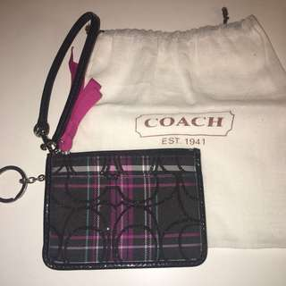 Coach Plaid Glitter ID Holder / Coin Purse / Wristlet
