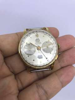 古董1940年代 ANGELUS 'Chronodato' 全18k金手動計時全曆手錶