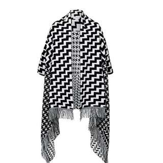 Seed Heritage Knit poncho with Bold Geometric Pattern. RRP$79