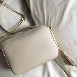 Nude Crossbody Bag with Tassel