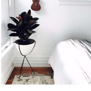 Retro Bullet Planter Stand in Black with White Pot