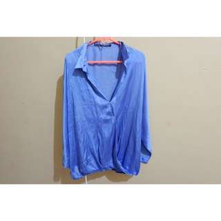 Zara blue satin shirt