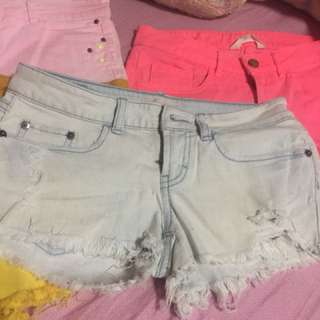 Washed maong shorts