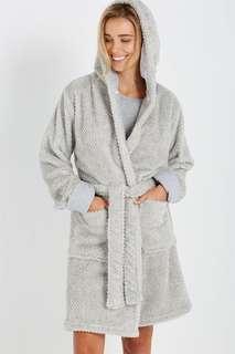 Cotton on plush robe grey