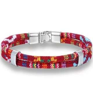 Unisex Leather Bracelets - Red Multi Color Silver Size 21.5cm