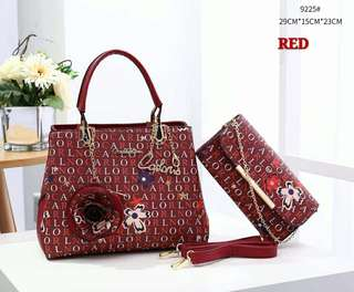 Carlo Rino Tote Bag 2 in 1 Red Color
