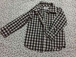 Navy Blue Shirt with Checkered Longsleeves
