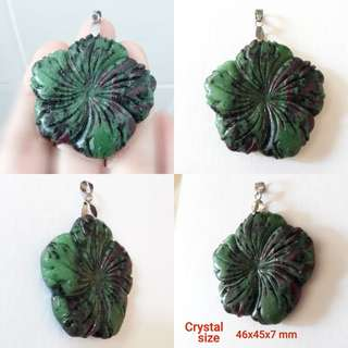 Ruby Zoisite carved flower pendant.
