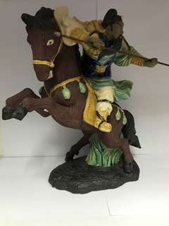 Clay Guan Gong Riding Horse Display Ornament