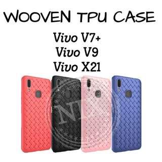 Wooven Soft TPU Back Case for Vivo V9 X21 v7+ Weaving Grid