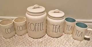 ⭐️⭐️⭐️BRAND NEW RAE DUNN COFFEE CANISTER /MATCHING MUGS ⭐️⭐️⭐️TEA CANISTER/MATCHING MUGS
