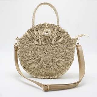 Top Handle Rattan Bag with Adjustable Straps