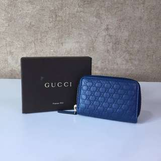 GUCCI 322214 MICRO GUCCISSIMA LEATHER ZIPPERED CARD CASE - KEY CASE