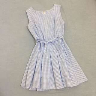 夏日清新藍格紋洋裝