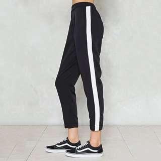 White-stripped black pants